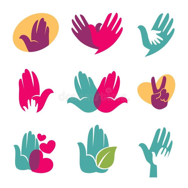 Menselijke handen vectorsymbolen van het helpen van hand, hart of vogelpictogram stock illustratie