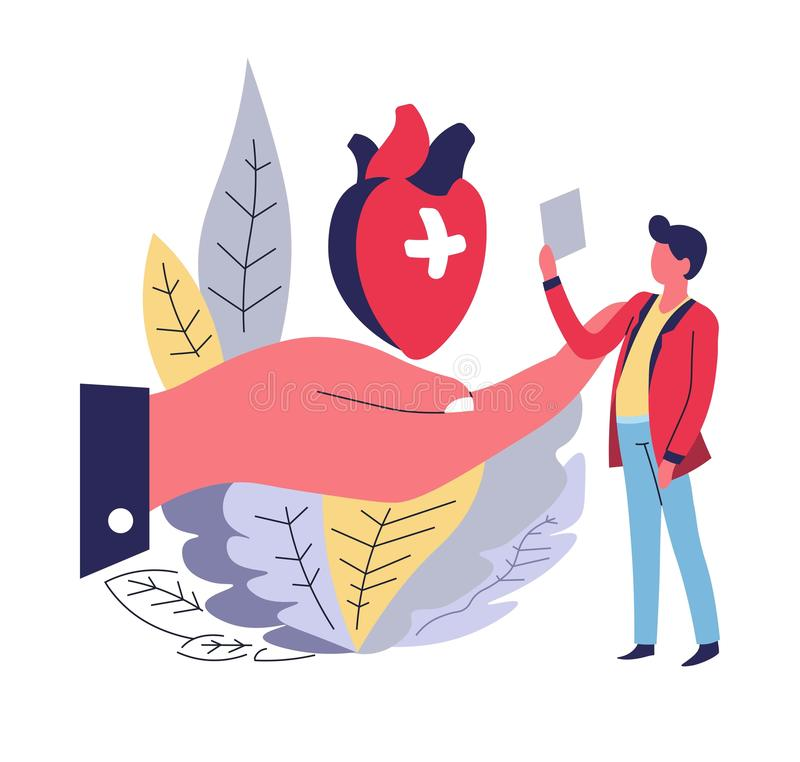 Menselijke hart en de hand van het ziektekostenverzekering het abstracte concept royalty-vrije illustratie