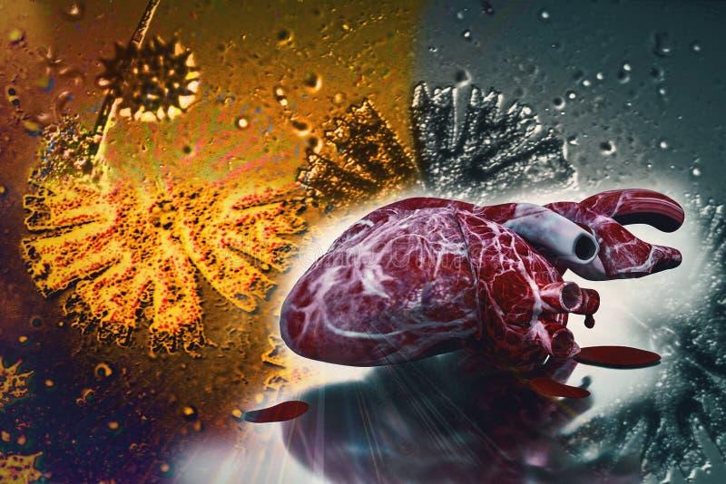 Menselijke hart en DNA-van de conceptenhartkwaal en gezondheid behandelingen royalty-vrije illustratie
