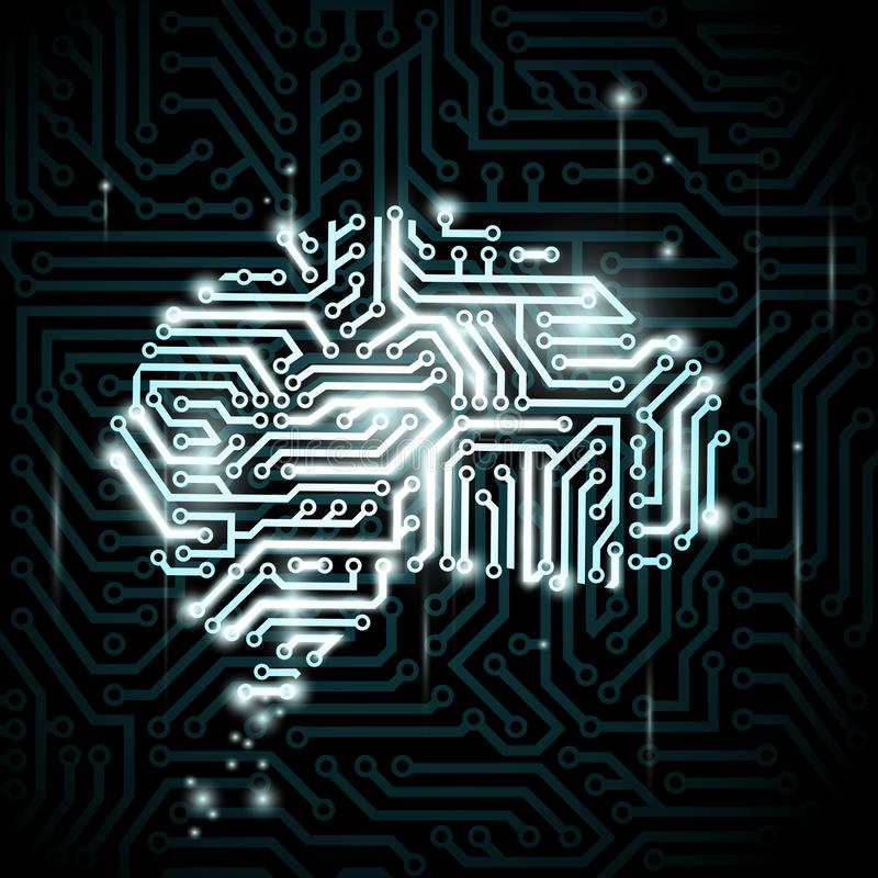 Menselijke hersenen in de vorm van kringen stock illustratie