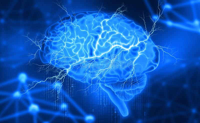 Menselijke hersenen Elektroactiviteit Het creëren van kunstmatige intelligentie royalty-vrije illustratie