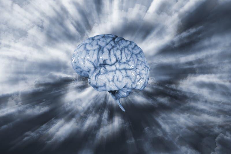 Menselijke hersenen en elektronische futuristische hemel stock afbeelding