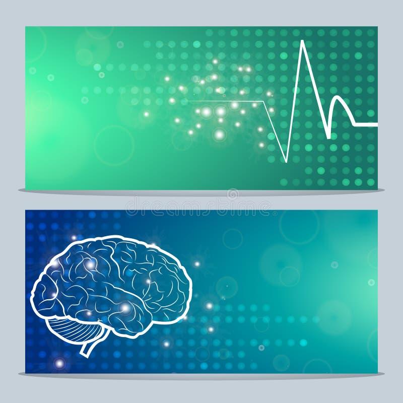 Menselijke hersenen en impuls royalty-vrije illustratie