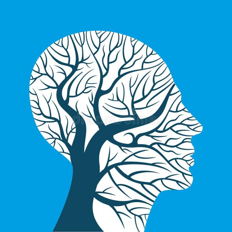 Menselijke hersenen, groene gedachten, vector illustratie