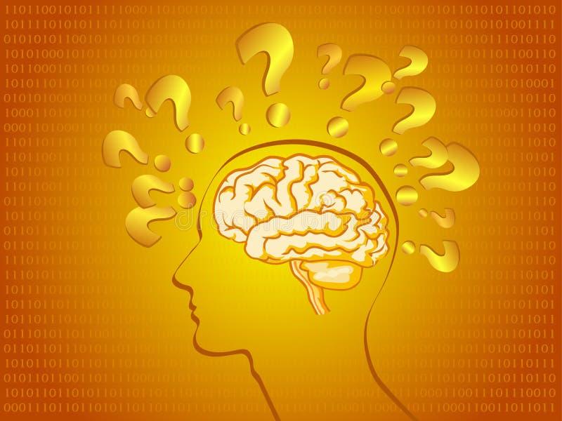 Menselijke hersenen in heldere sinaasappel stock illustratie