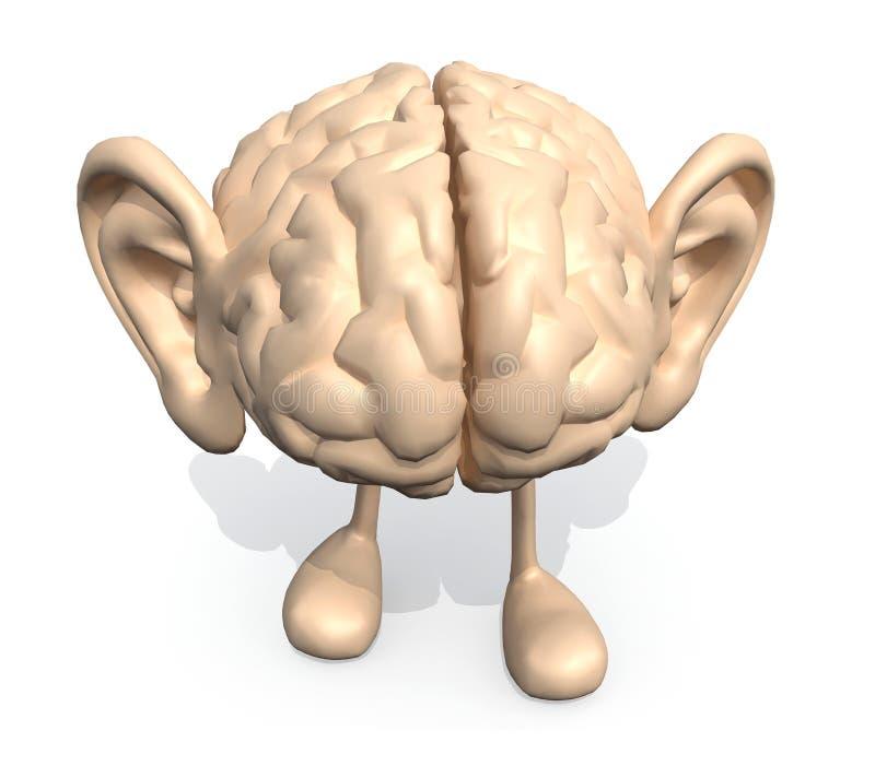 Menselijke hersenen met afluisteraar en benen stock illustratie