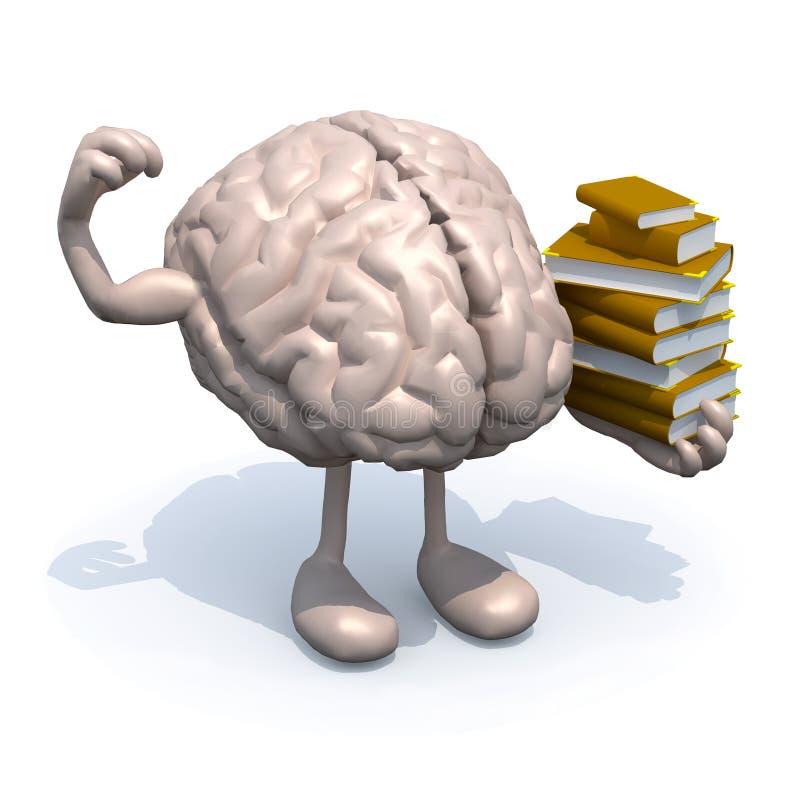 Menselijke hersenen met armen, benen en vele boeken op hand stock illustratie
