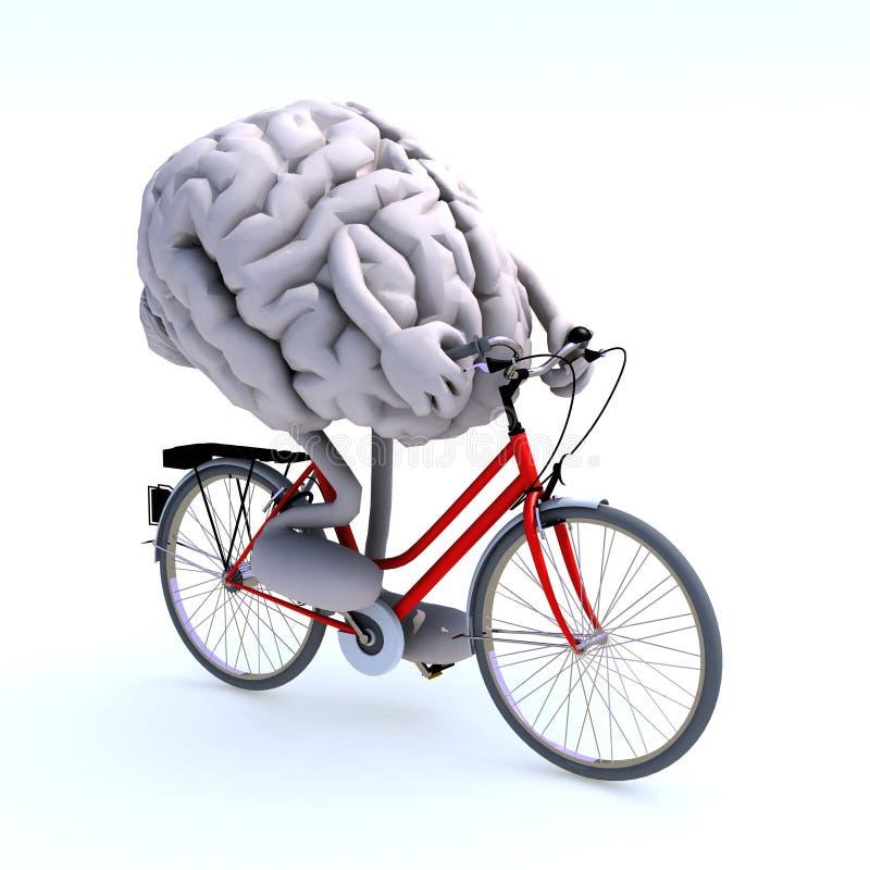 Menselijke hersenen met armen en benen die een fiets berijden royalty-vrije stock foto's