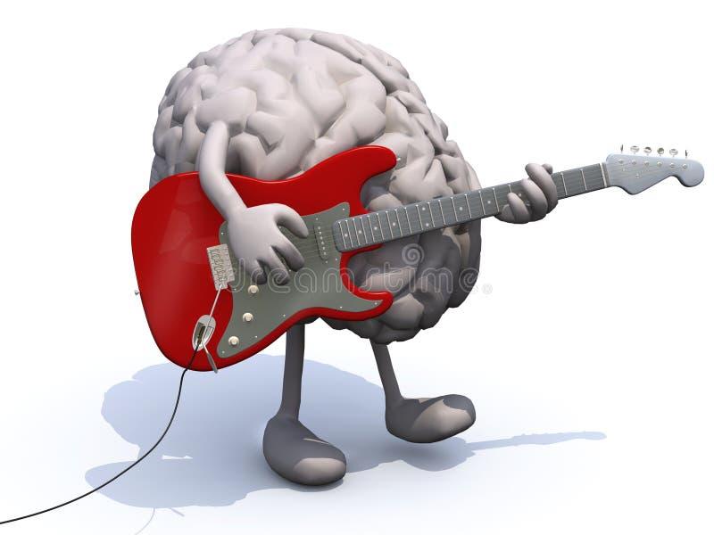 Menselijke hersenen met armen en benen die een gitaar spelen royalty-vrije illustratie