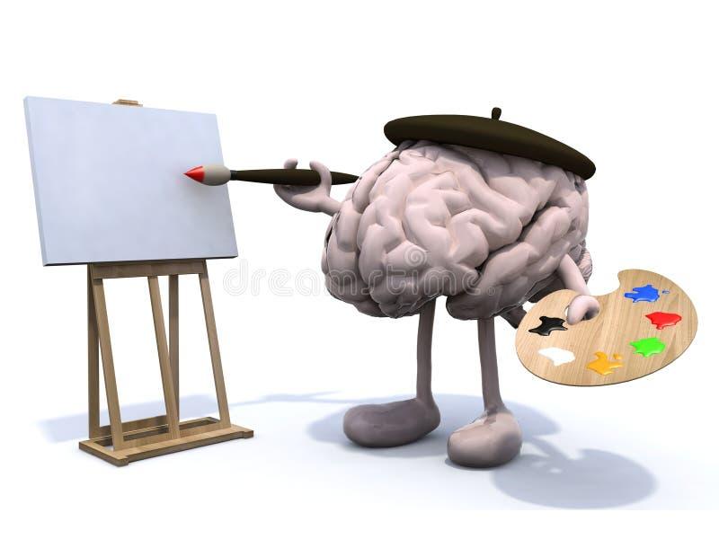 Menselijke hersenen met armen en benen, schilder vector illustratie