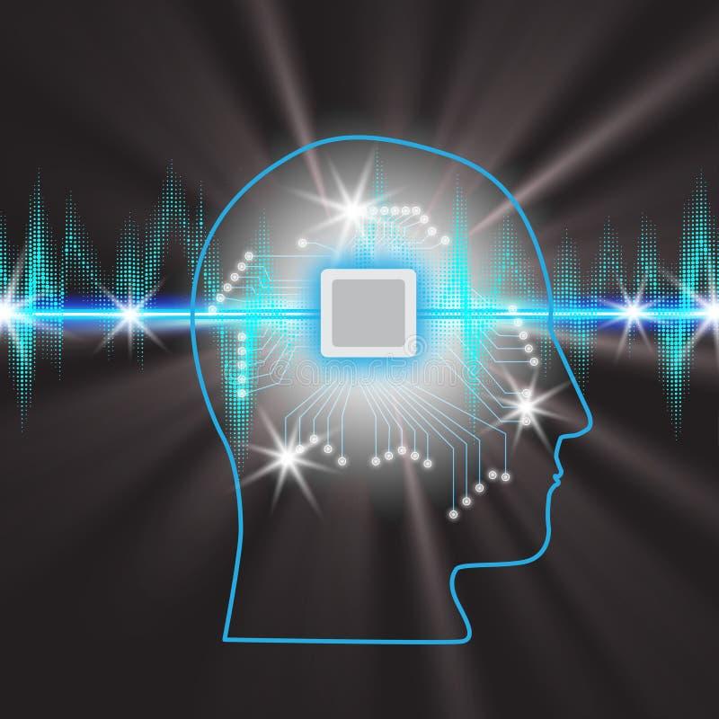 Menselijke hersenen met een microschakeling in het hoofd, concept het werken met een impulsband met het Gloeien Lichten vector illustratie