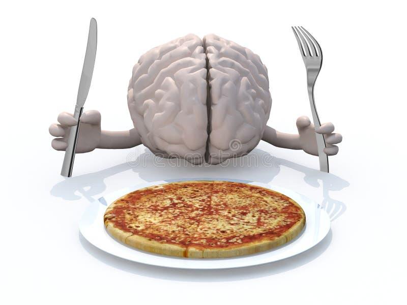 Menselijke hersenen met handen, vork en mes voor een pizzaschotel stock illustratie