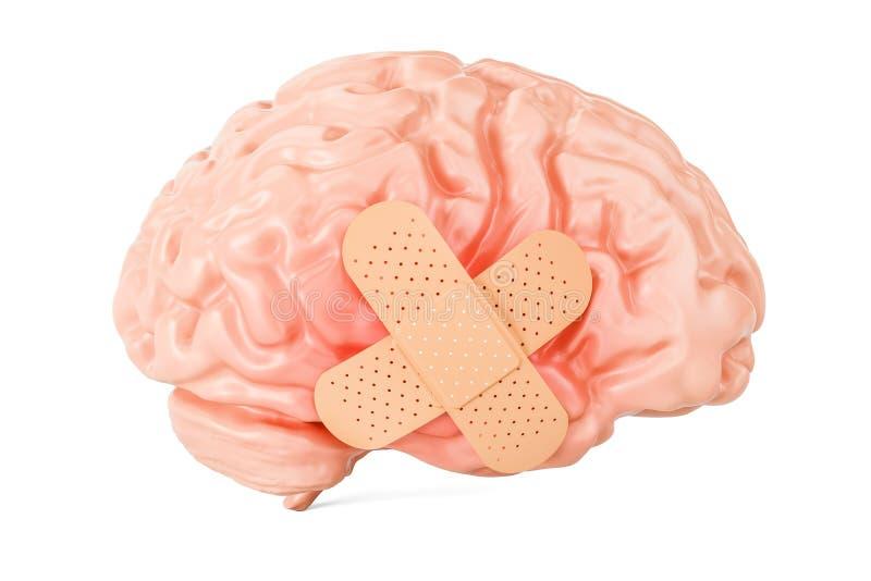 Menselijke hersenen met hechtpleister, het 3D teruggeven stock illustratie