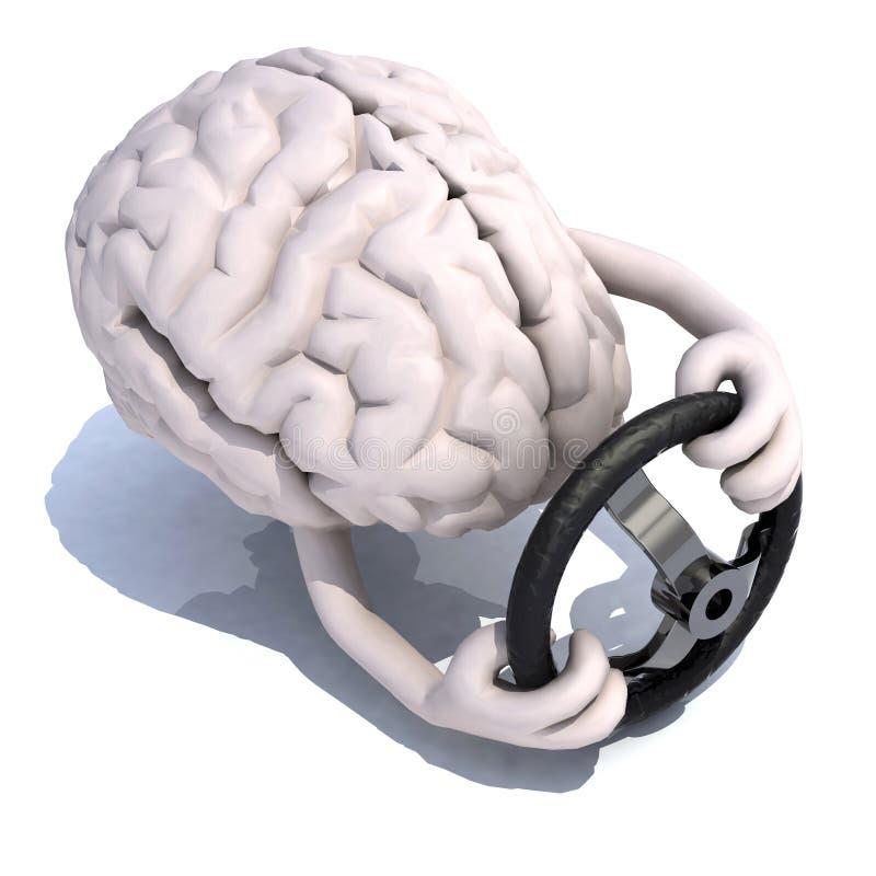 Menselijke hersenen met wapens en stuurwielauto vector illustratie