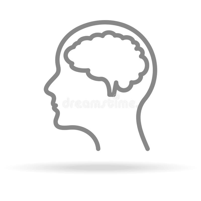 Menselijke Hersenen, Neurologiepictogram in In Dunne die Lijnstijl op Witte Achtergrond wordt geïsoleerd Medisch Symbool voor Uw  royalty-vrije illustratie