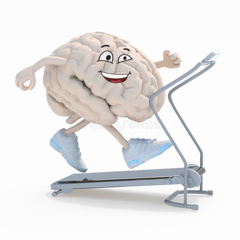 Menselijke hersenen op een lopende machine royalty-vrije illustratie