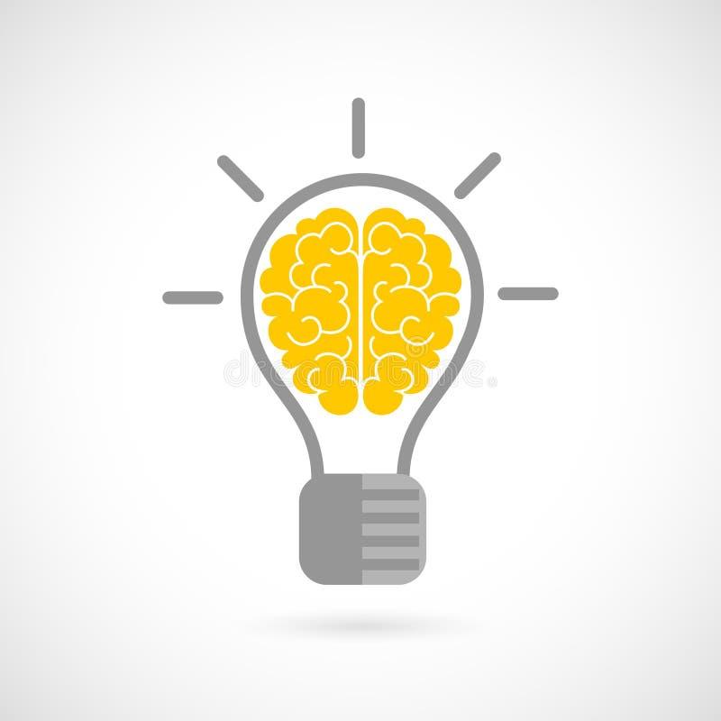 Menselijke hersenen in vlakke lightbulb royalty-vrije illustratie