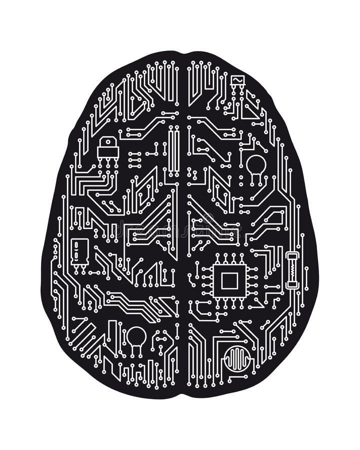 Menselijke hersenenmotherboard geïsoleerde vectorillustratie royalty-vrije illustratie