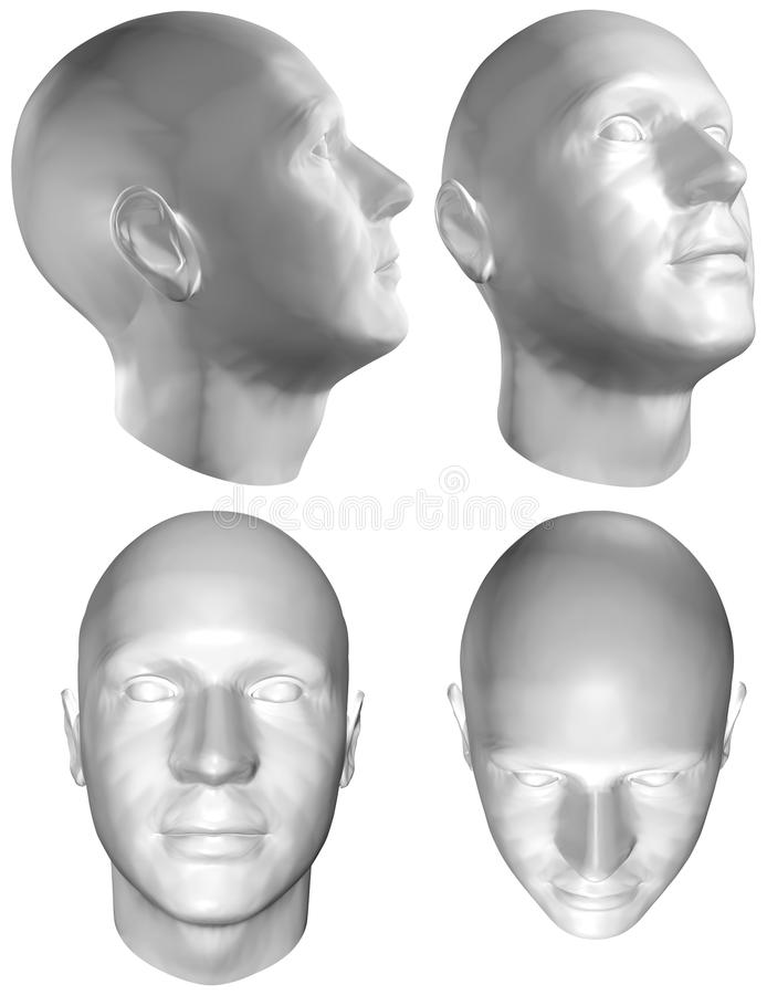 Menselijke hoofd 3D geeft terug vector illustratie