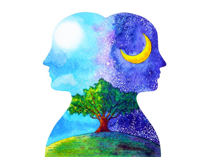 Menselijke hoofd de boom van de chakra krachtige inspiratie dag en nacht abstracte het denken waterverf het schilderen getrokken  stock illustratie