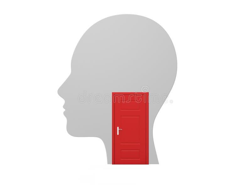 Menselijke Hoofd en Rode Gesloten Deur vector illustratie