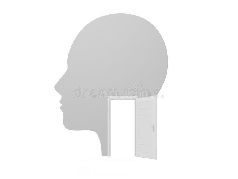 Menselijke Hoofd en Witte Geopende Deur vector illustratie