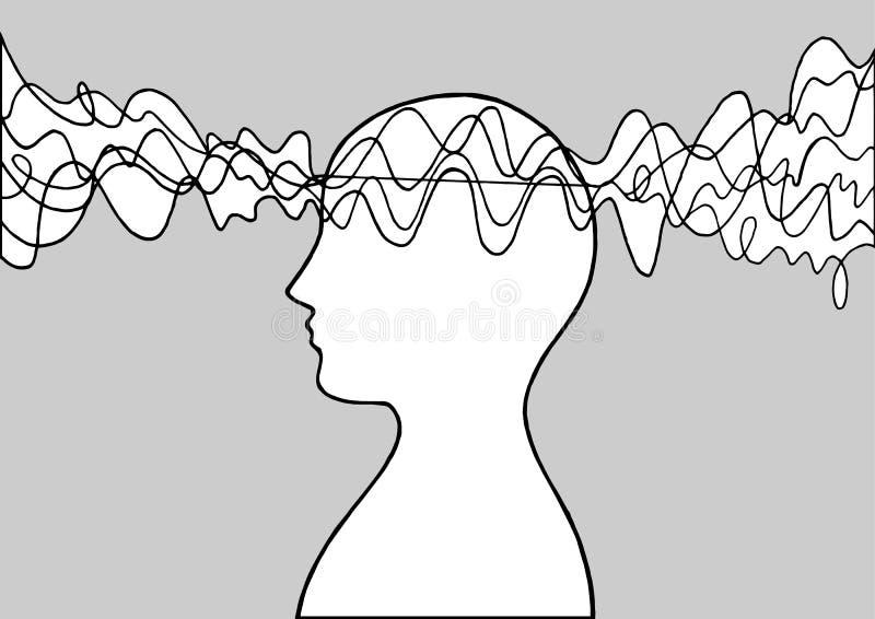 Menselijke hoofd van de de energiegolf van de geestmacht van de de kunstillustratie abstracte getrokken het ontwerphand vector illustratie