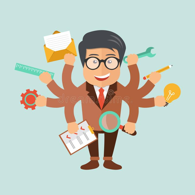Menselijke hulpbron en zelfwerkgelegenheidsconcept Ontwikkeling en Internet-de dienst stock illustratie