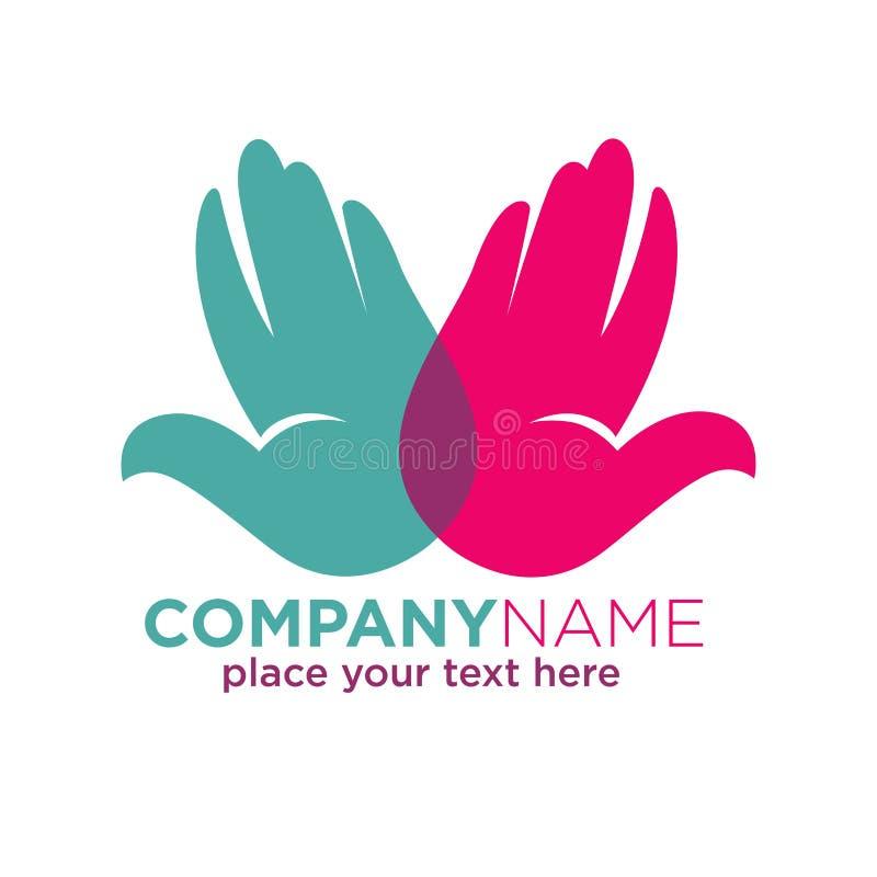 Menselijke kleurrijke die logotype van het handenbedrijf op wit wordt geïsoleerd vector illustratie