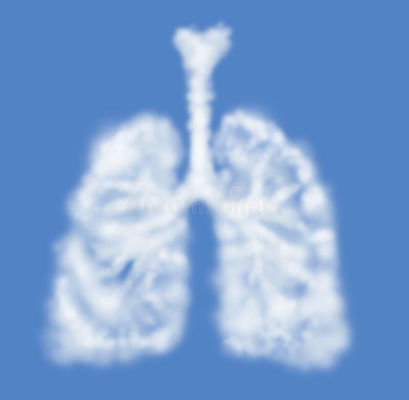 Menselijke longen die als geïsoleerde wolk worden gevormd royalty-vrije illustratie