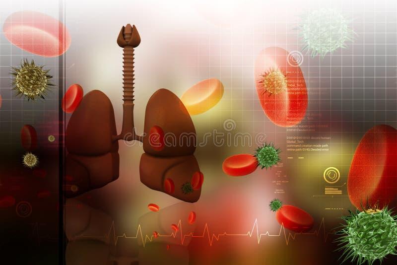 Menselijke longen met plaatjes royalty-vrije illustratie
