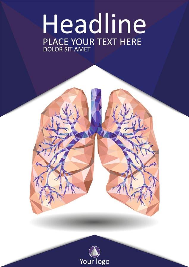 Menselijke longen met trachee, bronchie, bronchiën, kiel, in lage poly vector illustratie