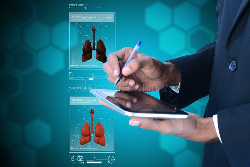 Menselijke longen op tabletcomputer stock illustratie