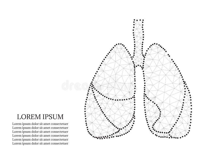 Menselijke longen, veelhoek, zwart-wit royalty-vrije illustratie