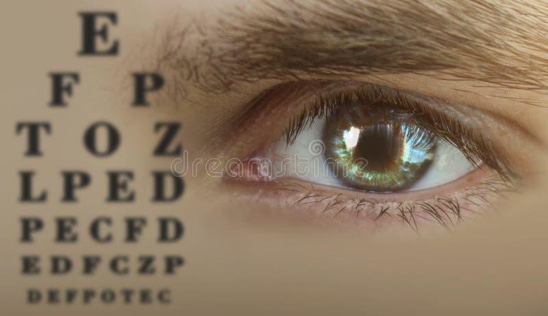 Menselijke mannelijke oogclose-up, menselijke oogtest, alfabetgrafiek stock afbeelding