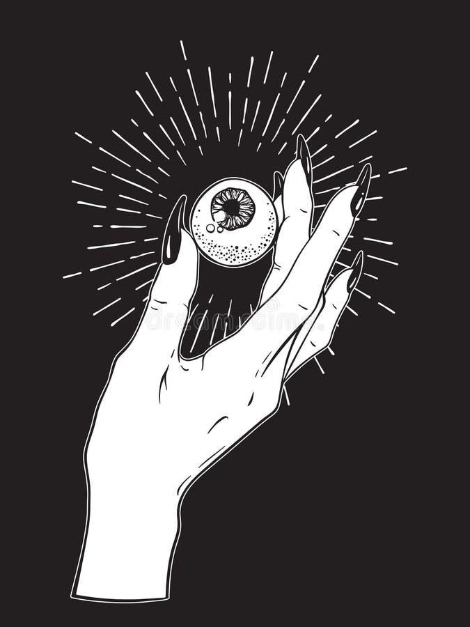 Menselijke oogappel in vrouwelijke geïsoleerde hand Sticker, druk of blackwork tatoegeringshand getrokken vectorillustratie stock illustratie
