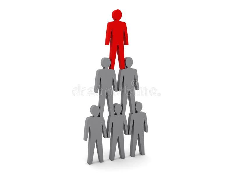 Menselijke piramide. De hiërarchie van het team. De werkgever van het bedrijf. stock illustratie