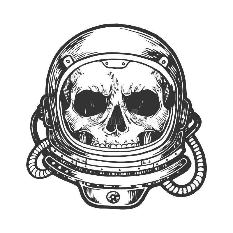 Menselijke schedel in de schetsgravure van de astronautenhelm royalty-vrije illustratie