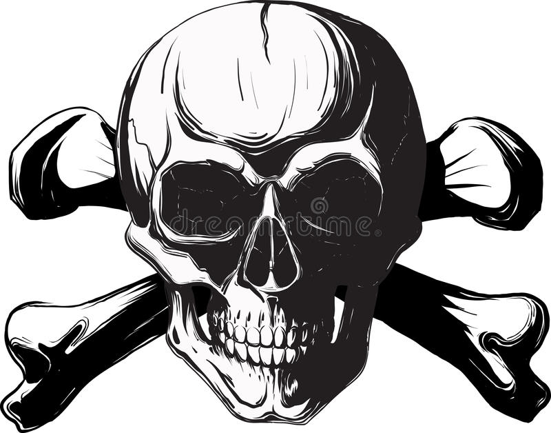 Menselijke schedel en beenderen vector illustratie