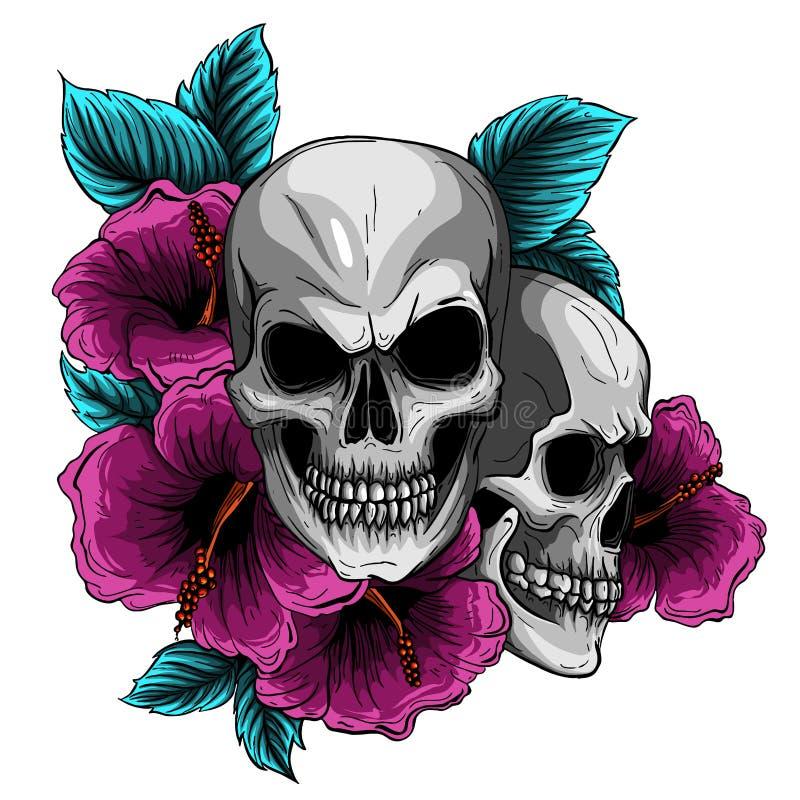 Menselijke Schedel en Bloemkroon Los Muertos Vector illustratie vector illustratie