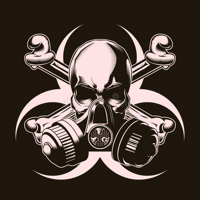 Menselijke schedel in gasmasker met gekruist beenderen en biohazard teken Vector illustratie Druk vectorontwerp royalty-vrije illustratie