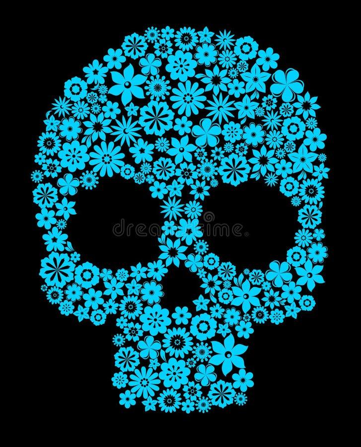 Menselijke schedel met bloemelementen vector illustratie