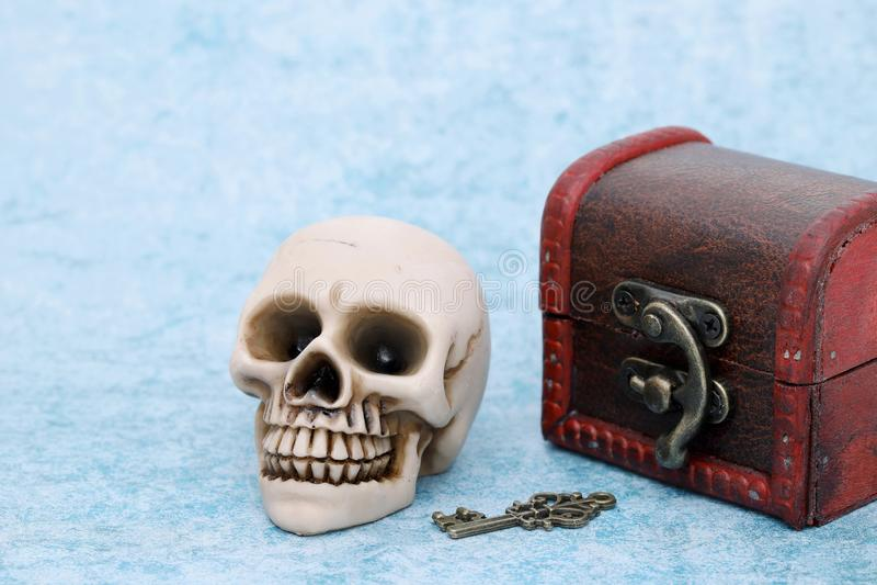 Menselijke schedel met oude schatborst stock afbeeldingen