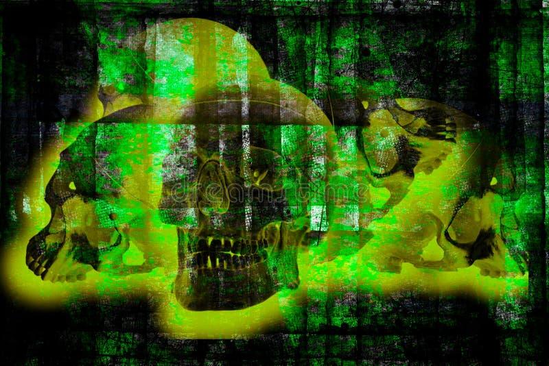 Menselijke schedels in de groene gloed op de grijze achtergrond Dag van de Dead Dia de los Muertes, abstract concept royalty-vrije illustratie