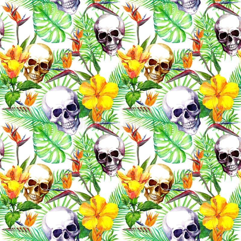 Menselijke schedels, tropische bladeren, exotische bloemen Het herhalen van patroon bij zwarte achtergrond watercolor stock illustratie