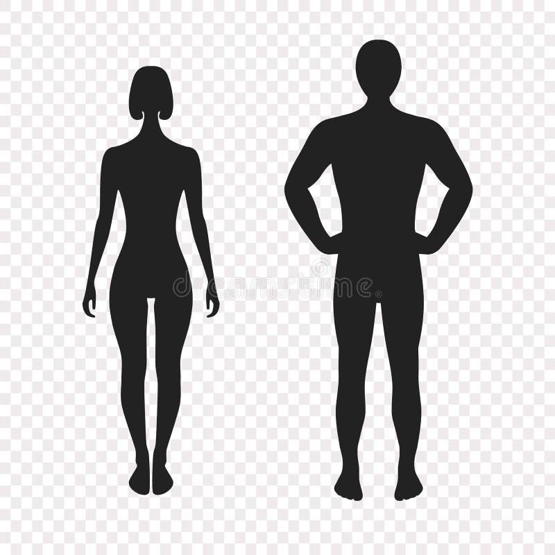 Menselijke silhouetten, vectorillustratie, volledige gezichtsmening Vrouw en man, zwart-witte illustratie op transparant royalty-vrije illustratie