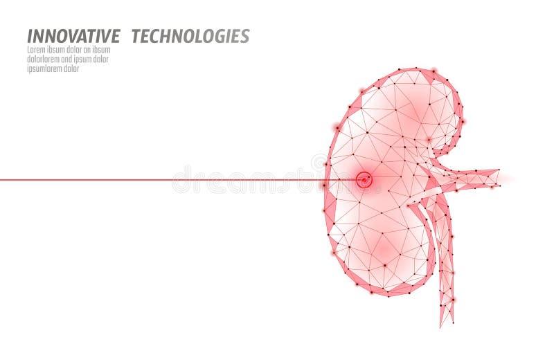 Menselijke van de de chirurgieverrichting van de nierenlaser lage poly Van de de drugbehandeling van de geneeskundeziekte het pij vector illustratie