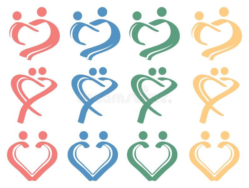 Menselijke van het het Symboolontwerp van de Liefdeverhouding Conceptuele het Pictogramreeks stock illustratie