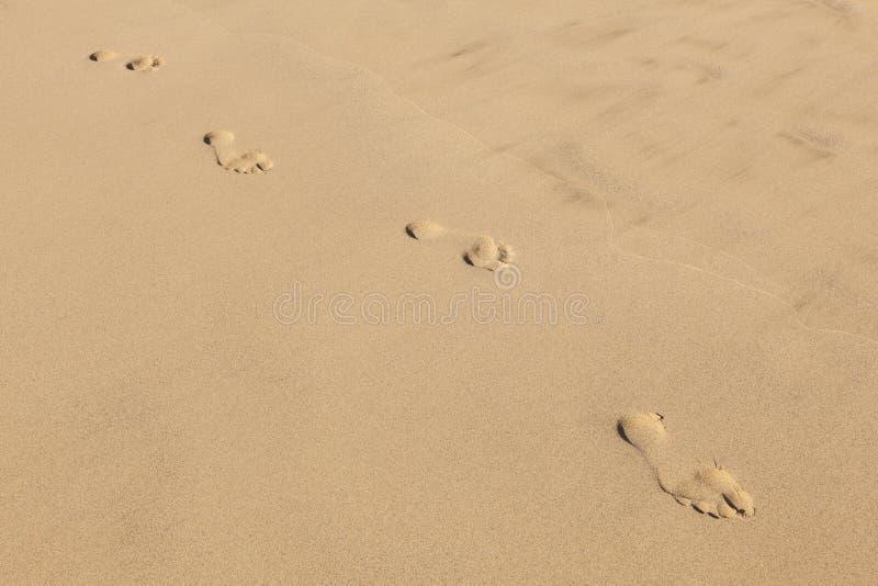 Menselijke voetstappen bij schone zandig stock afbeeldingen