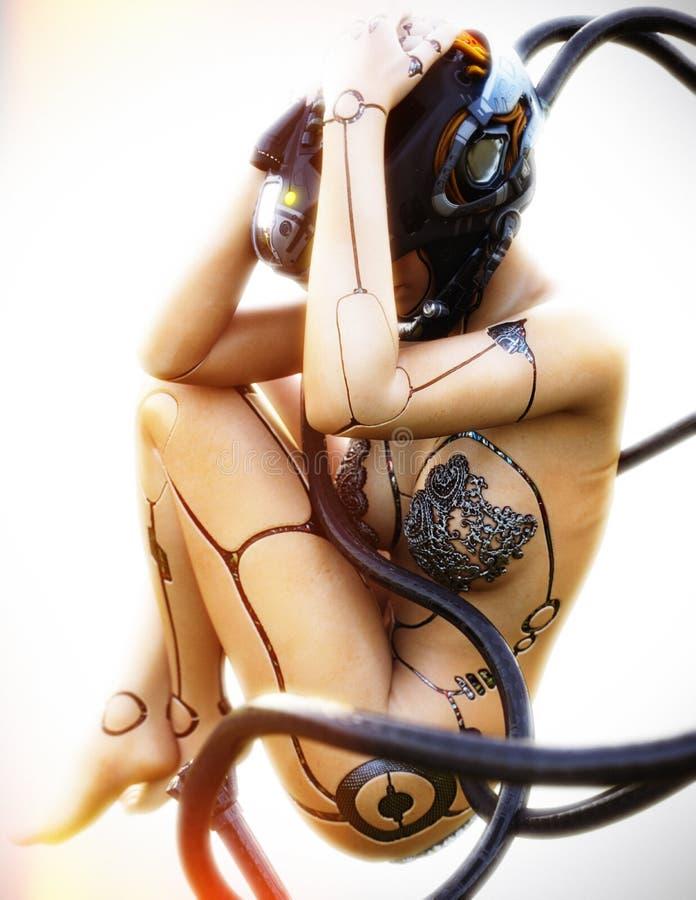 Menselijke vrouwelijke cyborgrobot in stasis stock afbeelding